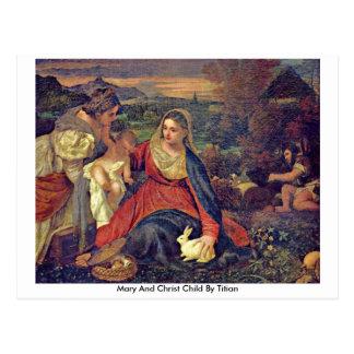 Mary- und Christus-Kind durch Titian Postkarte