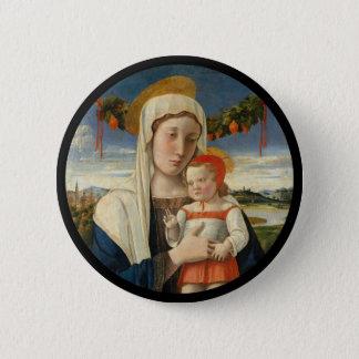 Mary- und Christus-Kind unter Girlande Runder Button 5,7 Cm
