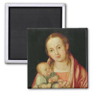 Mary und ihr Kind Quadratischer Magnet
