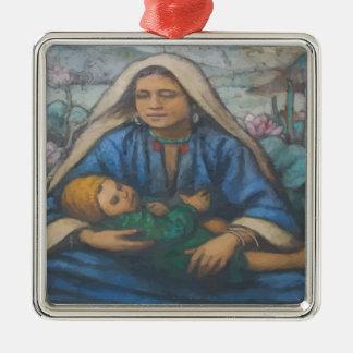 Mary und Jesus Quadratisches Silberfarbenes Ornament