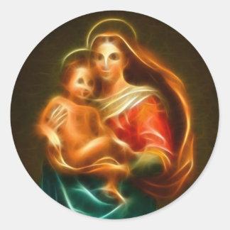 Mary und Jesus Runder Aufkleber