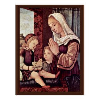 Mary und Johannes der Täufer, beten zum Christus Postkarte