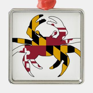 Maryland-Flaggen-Krabbe Silbernes Ornament