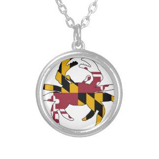 Maryland-Flaggen-Krabbe Versilberte Kette