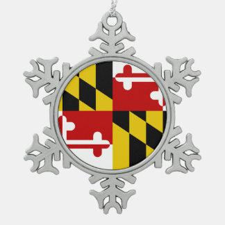 Maryland-Flaggen-Schneeflocke Schneeflocken Zinn-Ornament