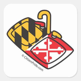Maryland-Flaggen-Spülbecken Quadratischer Aufkleber