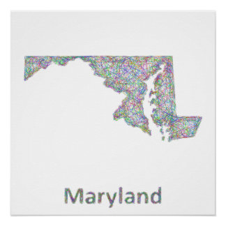 Maryland-Karte Poster