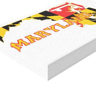 Maryland-Staat Flagge und Karte Leinwanddruck