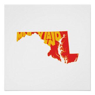Maryland-Staats-Namen-Wort-Kunst-Gelb Poster