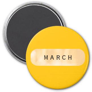 März-großes Goldrunder Magnet durch Janz Runder Magnet 7,6 Cm