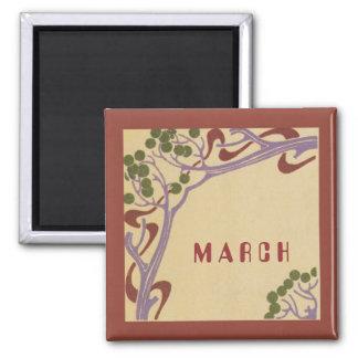 März-Kunst Nouveau quadratischer Magnet