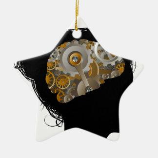 Maschinen-Funktions-Gang-Zahn-Gehirn-Frau Keramik Stern-Ornament