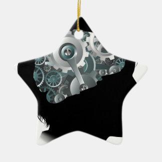Maschinen-Funktions-Gang-Zahn-Gehirn-Kinderkonzept Keramik Stern-Ornament