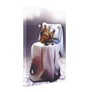 Mask schmelzenden Königs auf Stuhl - Leinwanddruck