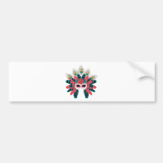 Maske mit Rosen und Feathers2 Autoaufkleber
