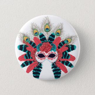 Maske mit Rosen und Feathers2 Runder Button 5,1 Cm