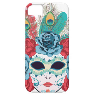 Maske mit Rosen und Feathers3 iPhone 5 Etui