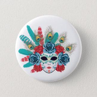 Maske mit Rosen und Feathers3 Runder Button 5,1 Cm