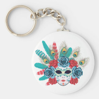 Maske mit Rosen und Feathers3 Schlüsselanhänger
