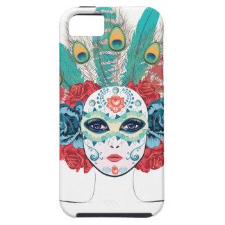 Maske mit Rosen und Federn iPhone 5 Etui