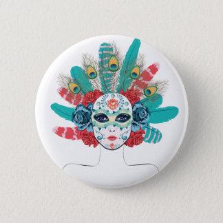 Maske mit Rosen und Federn Runder Button 5,1 Cm