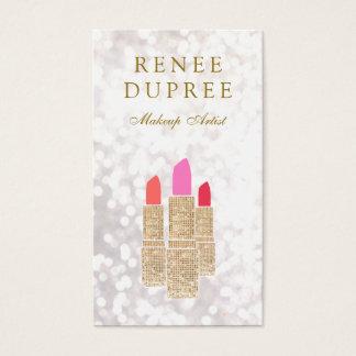 Maskenbildner-Goldlippenstift Bokeh Schönheit Visitenkarte