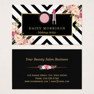 Maskenbildner-Lippenstift-Kosmetik-Blumenstreifen Visitenkarte
