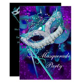 Maskerade-Ball-Party-aquamarine blaue lila Masken Karte