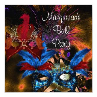 Maskerade-Ball-Party-Masken-buntes abstraktes Quadratische 13,3 Cm Einladungskarte