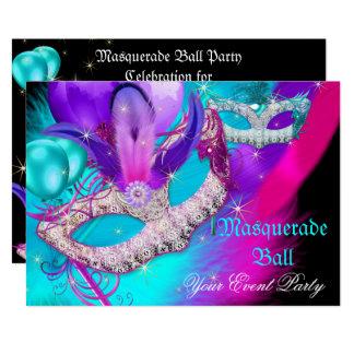 Maskerade-Ball-Party maskiert lila aquamarines Karte