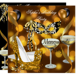 Maskerade-Geburtstags-GoldStilett Champagne 2 Karte