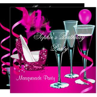 Maskerade-Geburtstags-Party-rosa Wein-Stilett Karte
