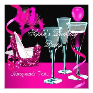 Maskerade-Geburtstags-Party-rosa Wein-Stilett Quadratische 13,3 Cm Einladungskarte