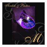 Maskerade-Masken-lila Strudel-Hochzeits-Einladung Quadratische 13,3 Cm Einladungskarte