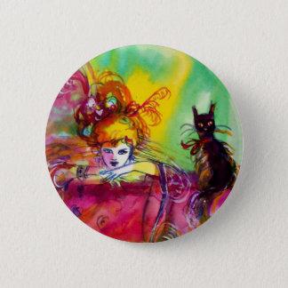 Maskerade-Party DAMEwith SCHWARZEN CAT /Mardi Gras Runder Button 5,7 Cm