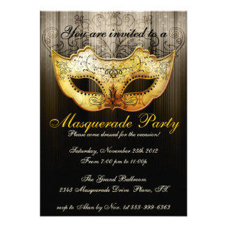 Maskerade-Party-Feier-extravagante Goldeinladung