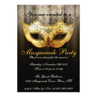 Maskerade-Party-Feier-extravagante Goldeinladung 12,7 X 17,8 Cm Einladungskarte