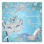 Maskerade Quinceanera 15. Partyblauer Tiara-Schuh Ankündigungskarte