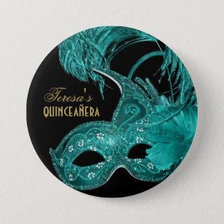 Maskerade quinceañera Geburtstags-Türkismaske Runder Button 7,6 Cm