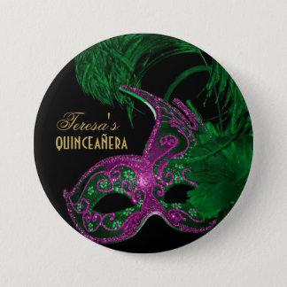 Maskerade quinceañera Geburtstagsgrün, rosa Maske Runder Button 7,6 Cm