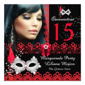 Maskerade Quinceanera Party-Rot-Spitze Quadratische 13,3 Cm Einladungskarte