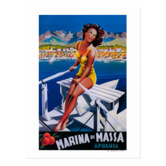 Massa Jachthafen-Reise-Plakat Postkarten