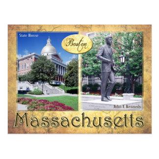 Massachusetts-Staats-Haus u. Kennedys Statue Postkarte