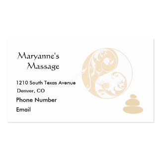 Massage-Steine und verschönertes Yin und Yang Visitenkartenvorlagen