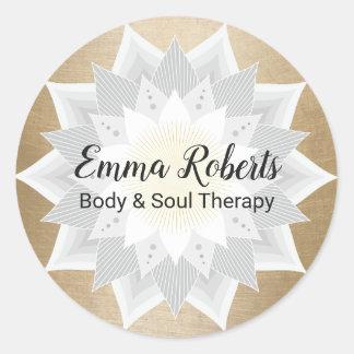 Massage-Therapie-Goldlotos-Blumen-Logo elegant Runder Aufkleber