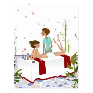 Massieren Sie den Therapeuten, der eine Frau Postkarte