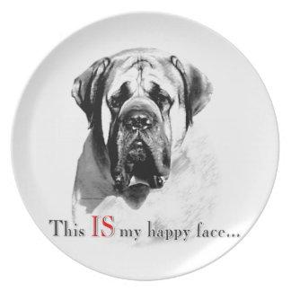Mastiff-glückliches Gesicht Teller