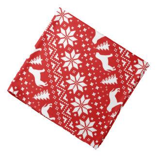 Mastiff-Silhouette-Weihnachtsmuster-Rot Kopftuch