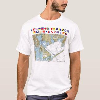 Matagorda Bucht-Seehafen-Diagramm-T - Shirt mit