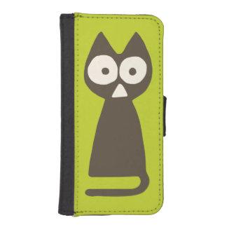 Matcha grüne Brown Dreieck-Katze iPhone SE/5/5s Geldbeutel Hülle